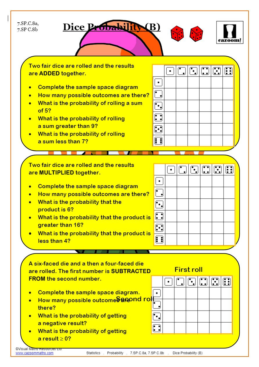 Probability Worksheet 7th Grade Probability Worksheets