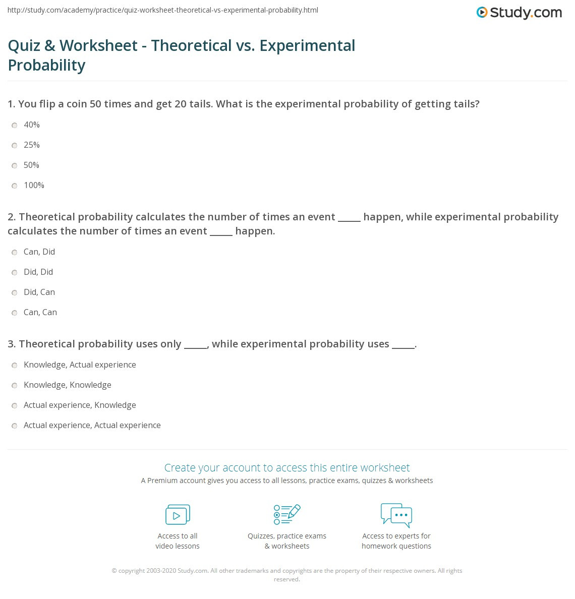 Probability Worksheet 7th Grade Quiz & Worksheet theoretical Vs Experimental Probability