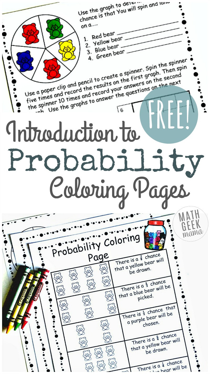 Probability Worksheet 7th Grade Simple Coloring Probability Worksheets for Grades 4 6 Free