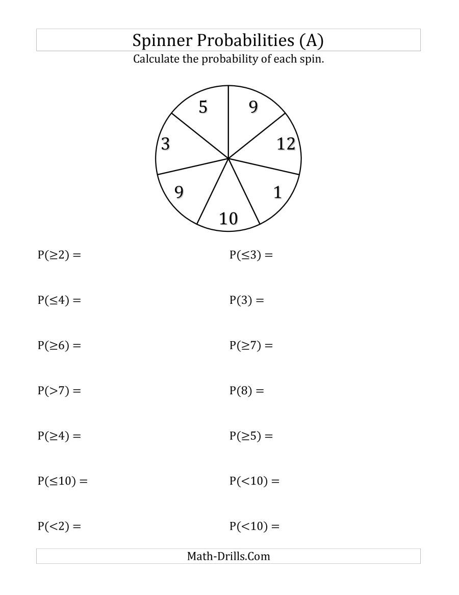 Probability Worksheets 7th Grade Pdf 7 Section Spinner Probabilities A