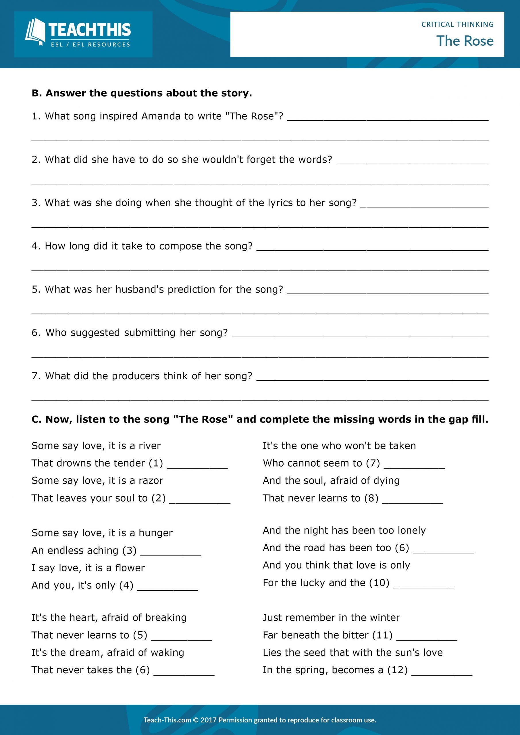 Problem solving Skills Worksheets Critical Thinking and Problem solving