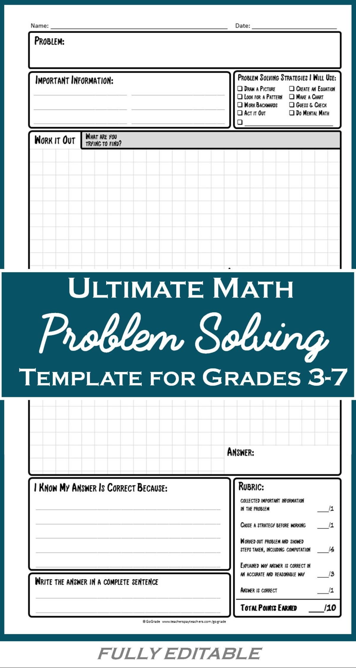Problem solving Skills Worksheets Math Problem solving Worksheets A Structured Strategy for