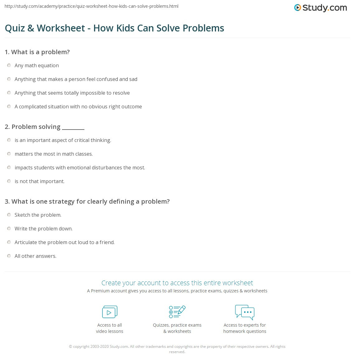 Problem solving Skills Worksheets Quiz & Worksheet How Kids Can solve Problems