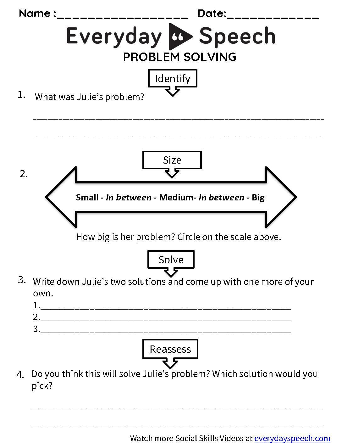 Problem solving Skills Worksheets solving A Problem Video Examples with Activities & Games