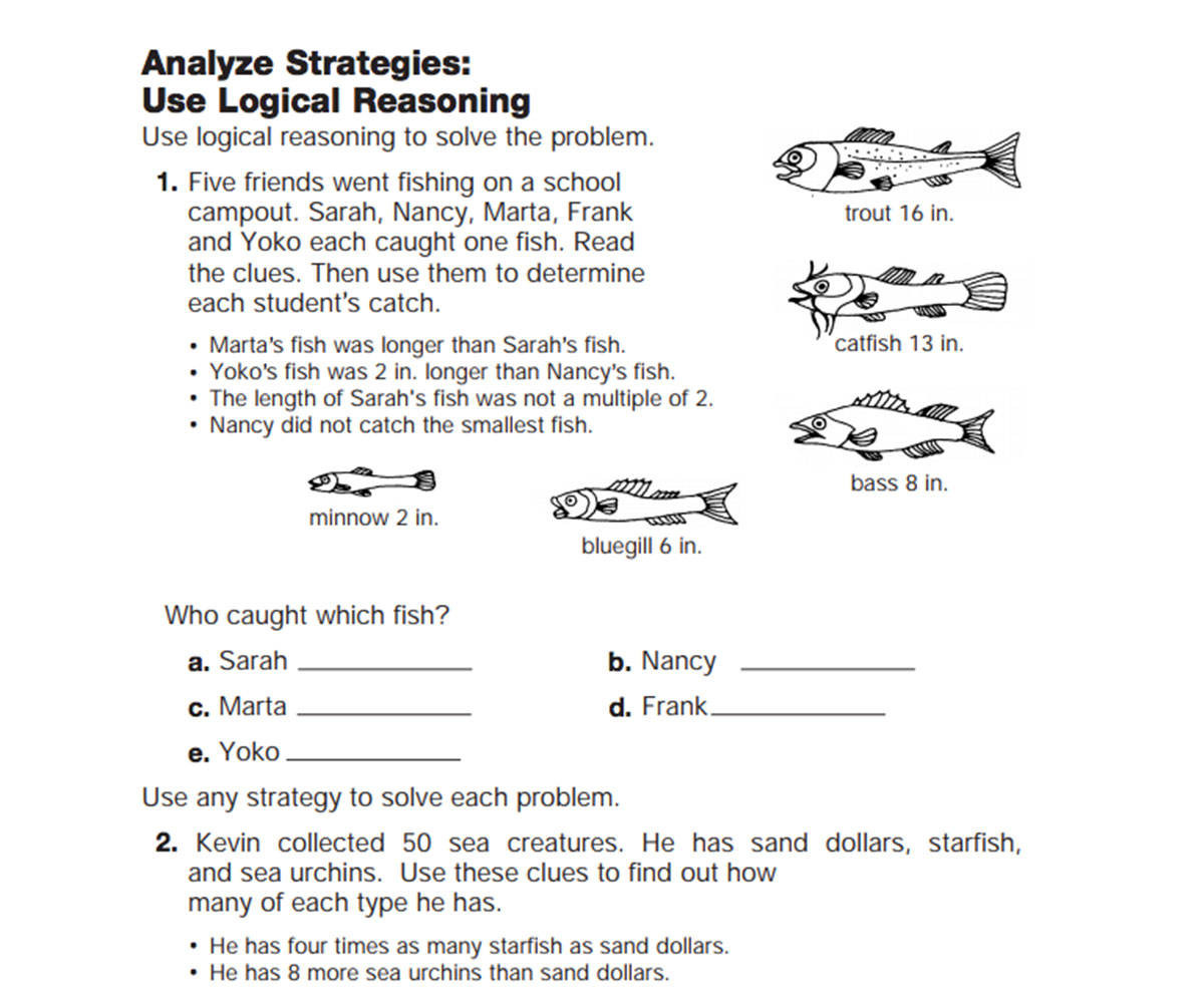 Problem solving Skills Worksheets Use Logical Reasoning Teachervision