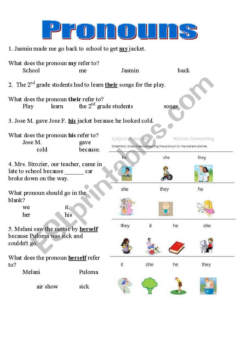 Pronoun Worksheet for 2nd Grade Pronouns Worksheet Y6 Printable Worksheets and Activities