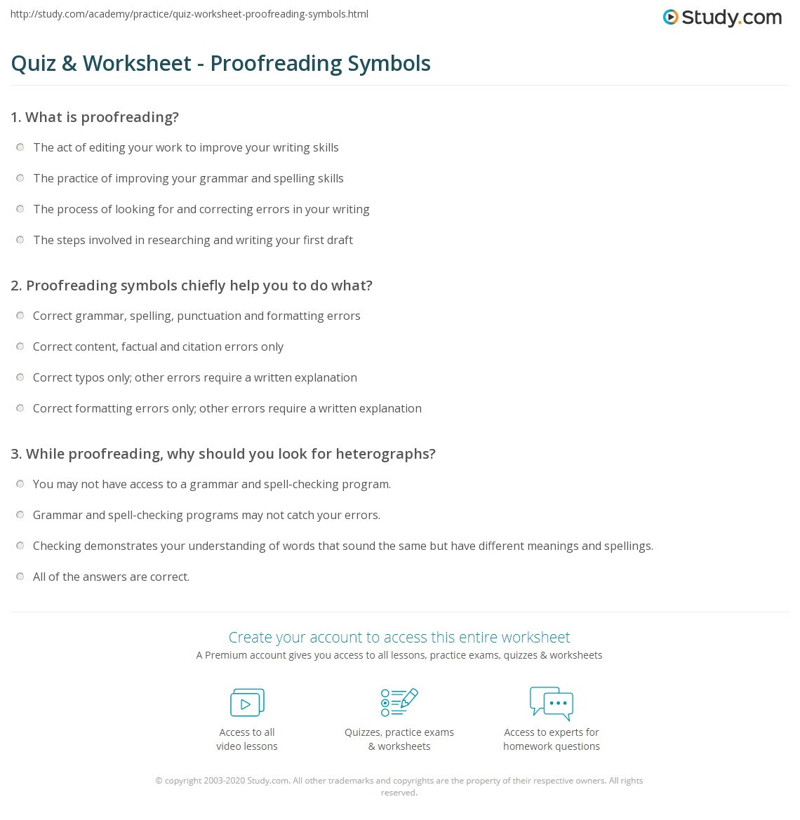 Proofreading Worksheets High School Quiz & Worksheet Proofreading Symbols