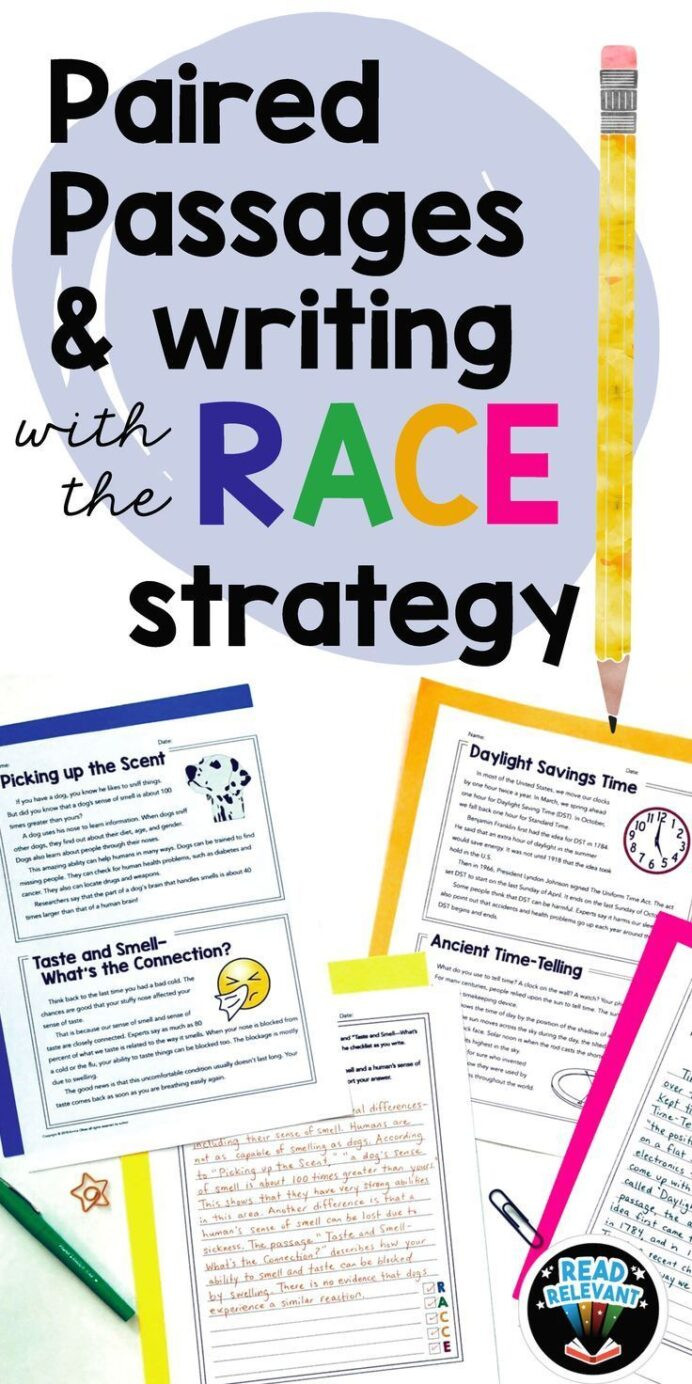 Race Writing Strategy Worksheet Paired Passages and Writing with the Race Strategy Grades