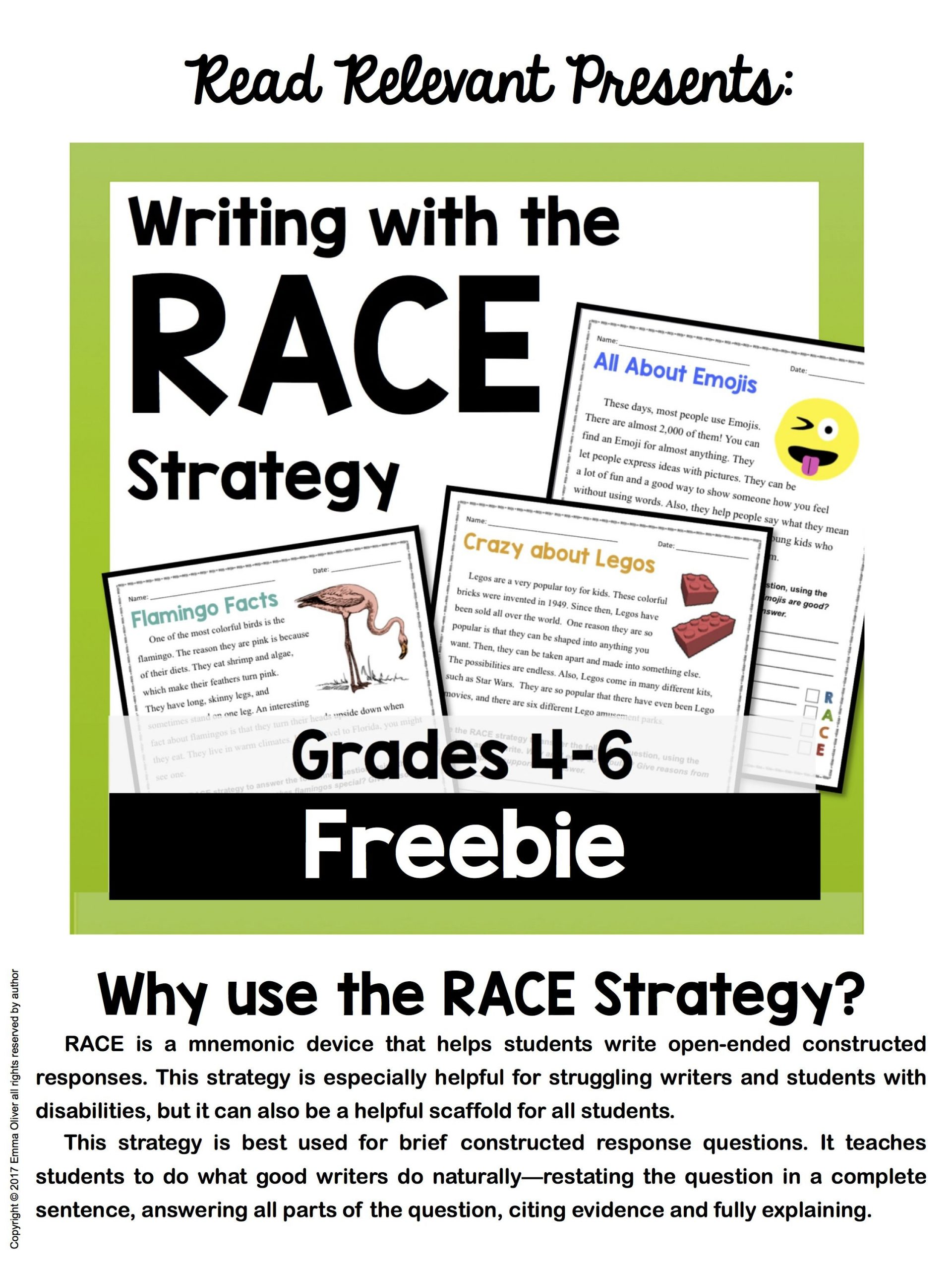 Race Writing Strategy Worksheet Race Strategy Writing Worksheet Activity Grades 4 6 Free