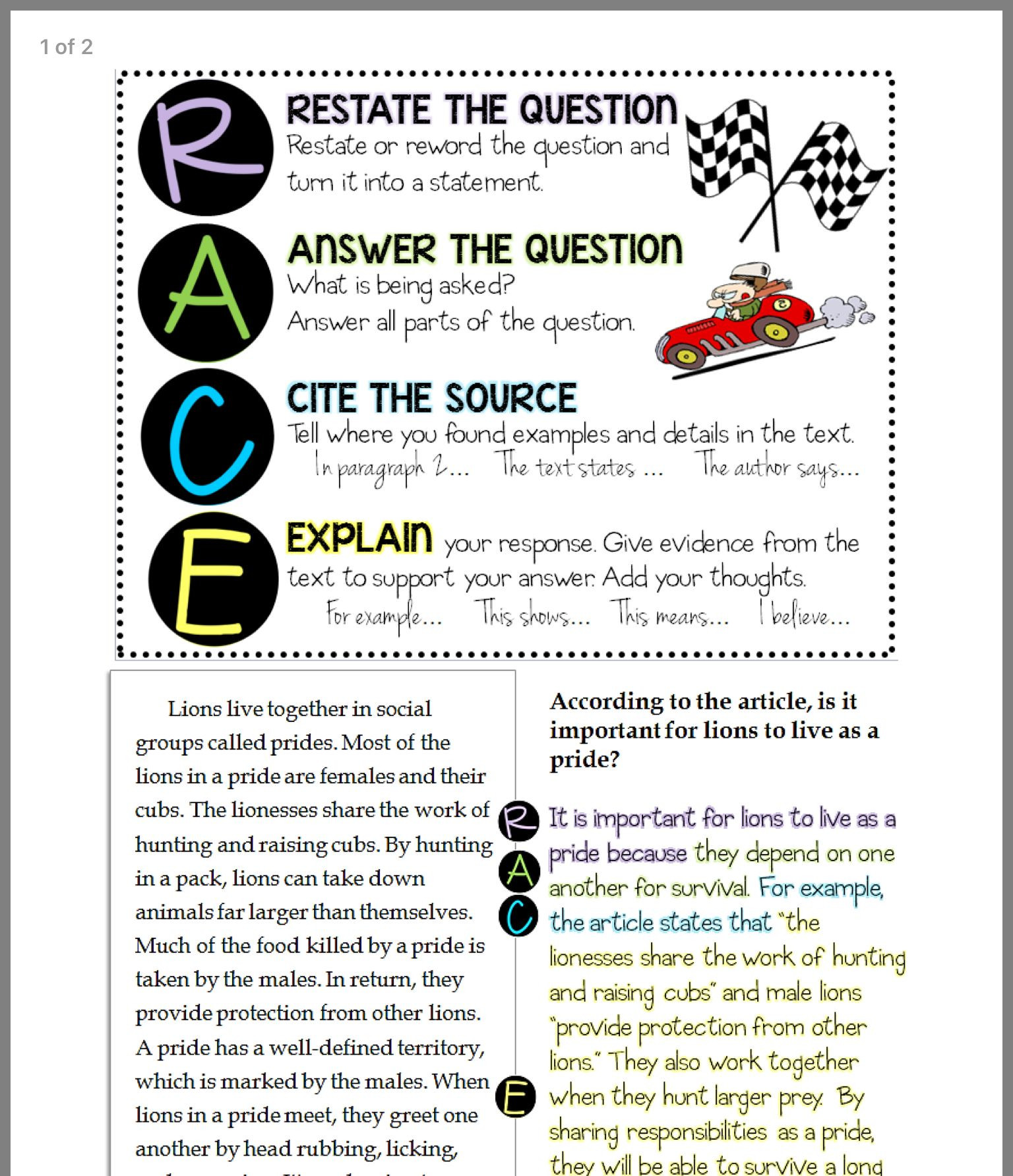 Race Writing Strategy Worksheet Short Response