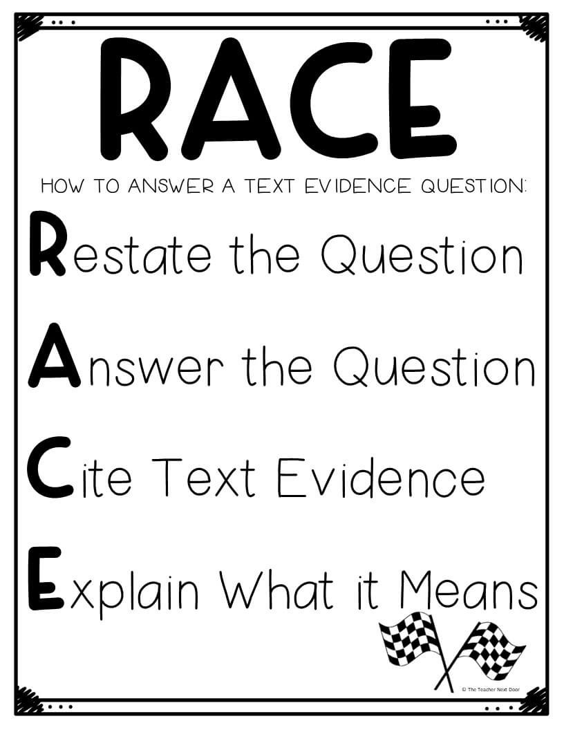 Race Writing Strategy Worksheet Using the Race Strategy for Text Evidence