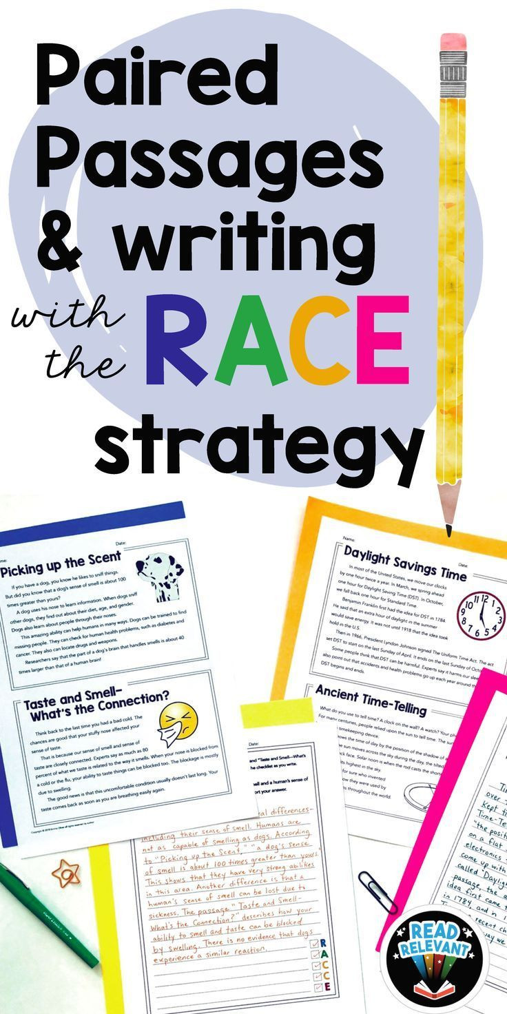 Race Writing Strategy Worksheets Paired Passages and Writing with the Race Strategy Grades