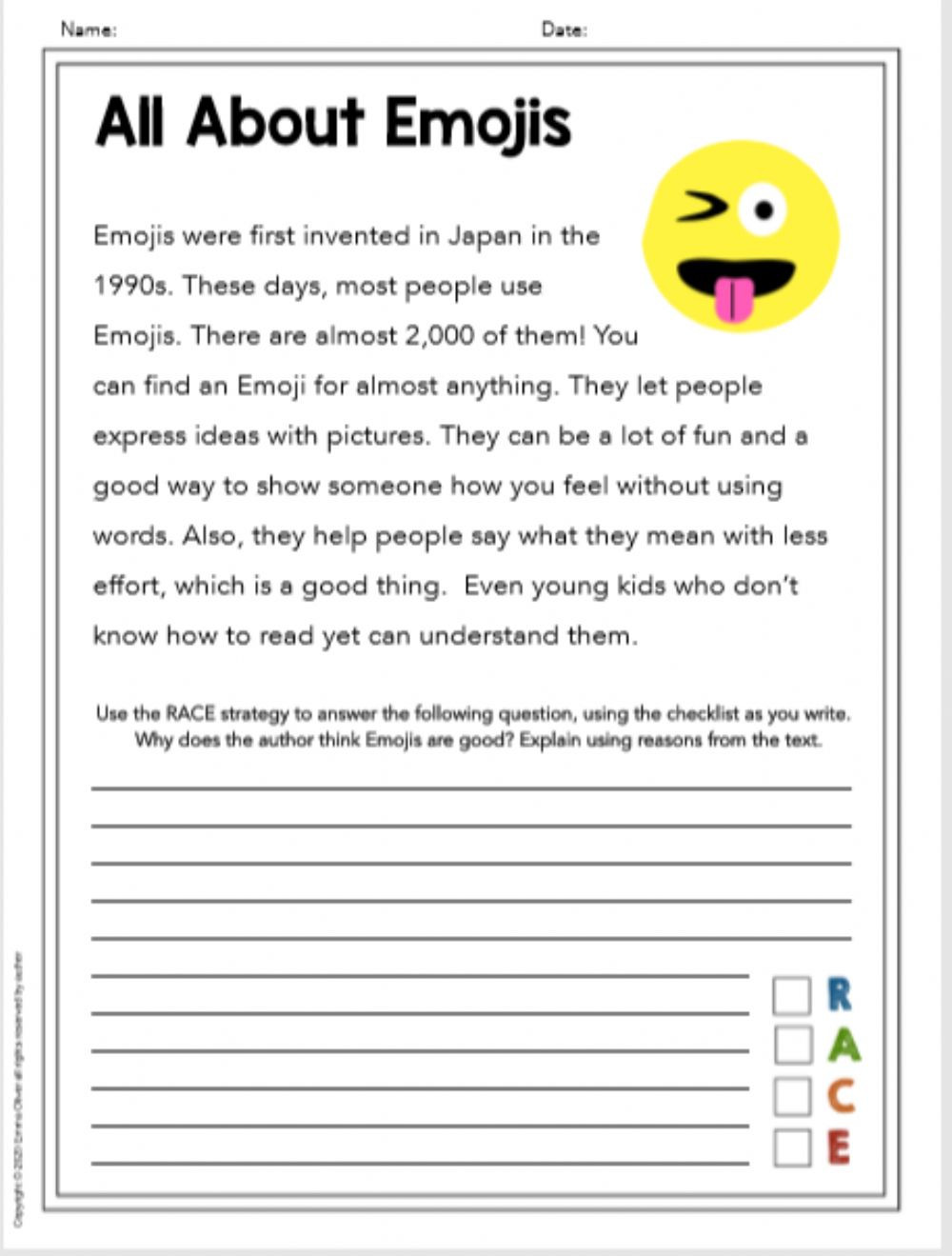 RACE writing practice Emoji Interactive worksheet