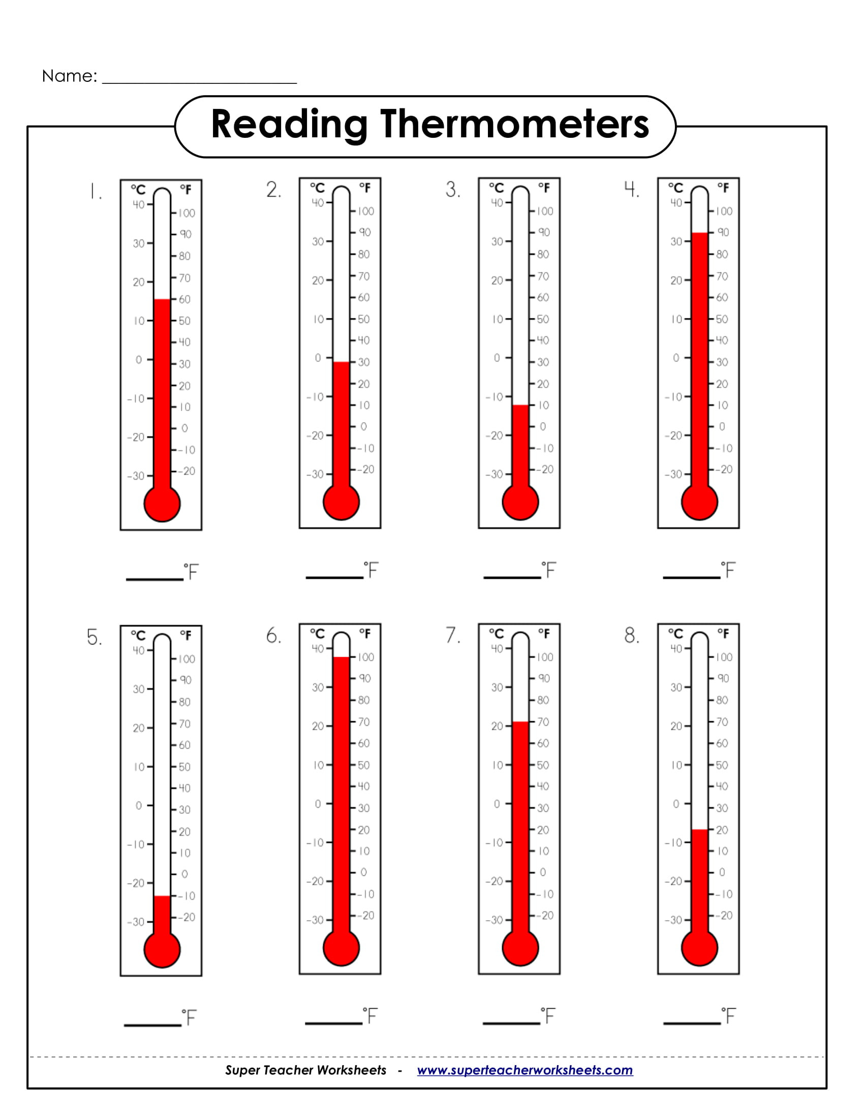 Read A thermometer Worksheet 9 Math Worksheets for Students Pdf