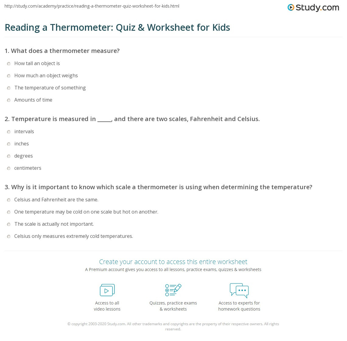 Read A thermometer Worksheet Reading A thermometer Quiz & Worksheet for Kids