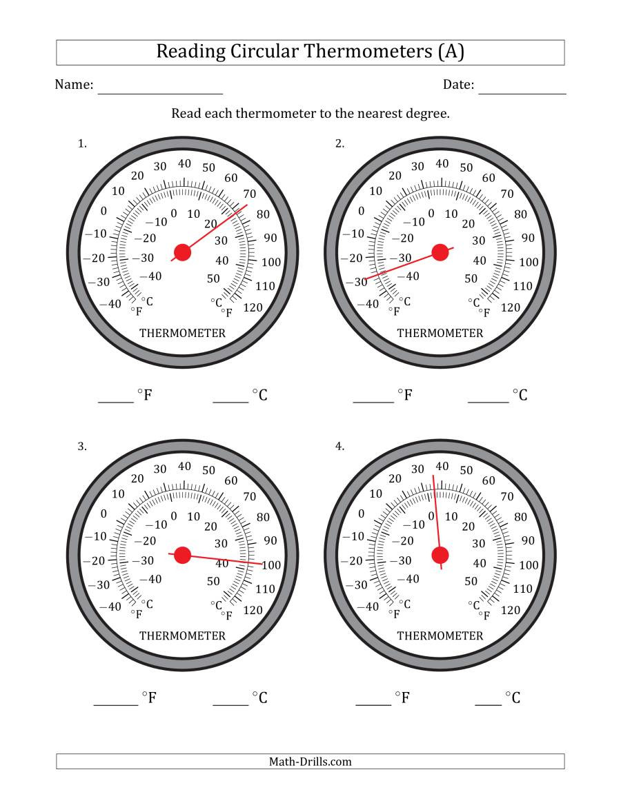 Read A thermometer Worksheet Reading Temperatures From Circular thermometers Fahrenheit