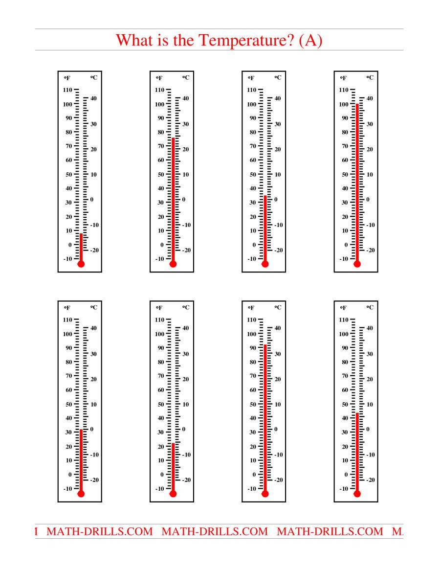 Read A thermometer Worksheet Reading Temperatures On A thermometer A