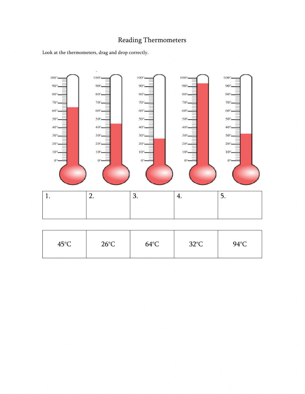 Read A thermometer Worksheet Reading thermometers Interactive Worksheet