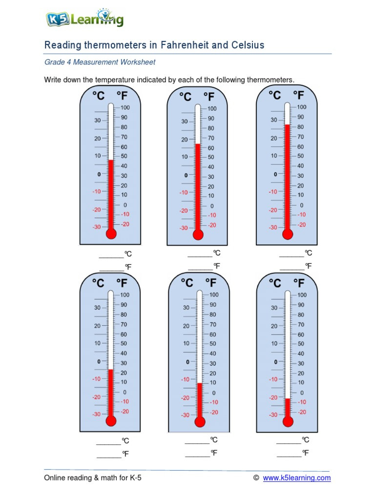 Read A thermometer Worksheet Temperature