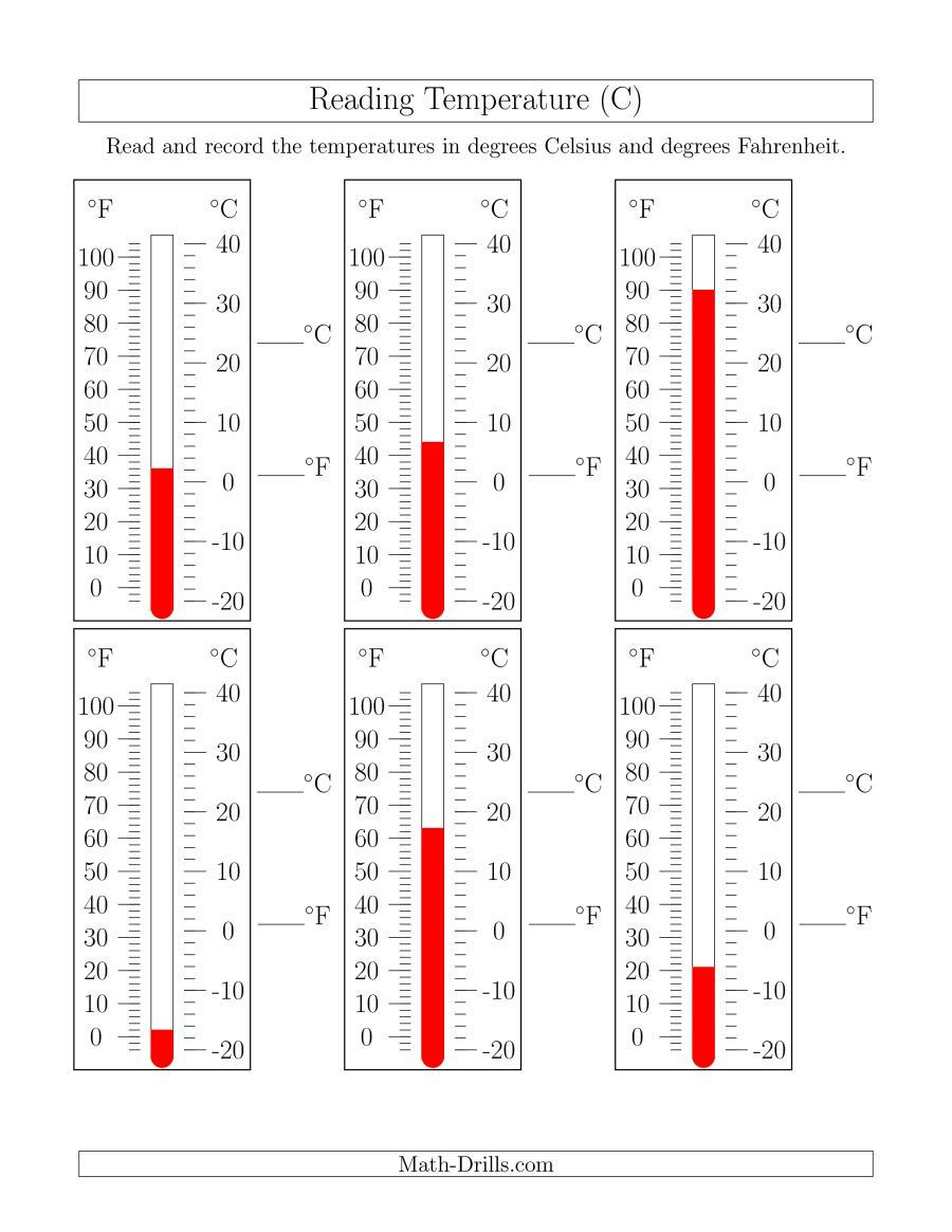 Read A thermometer Worksheet the Reading Temperatures From thermometers C Math