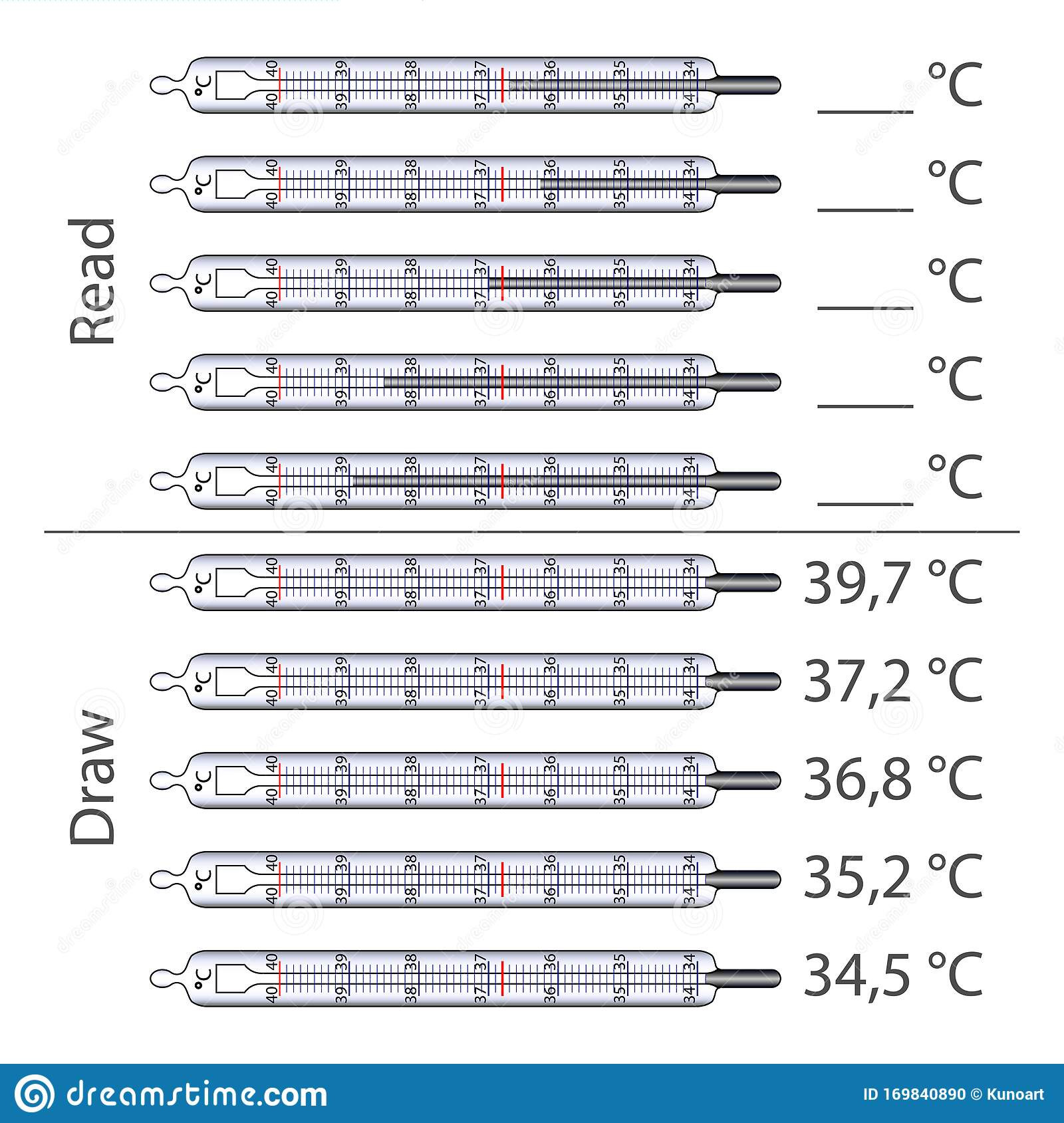 Read A thermometer Worksheet Worksheet to Study the Scale Mercury thermometer Stock