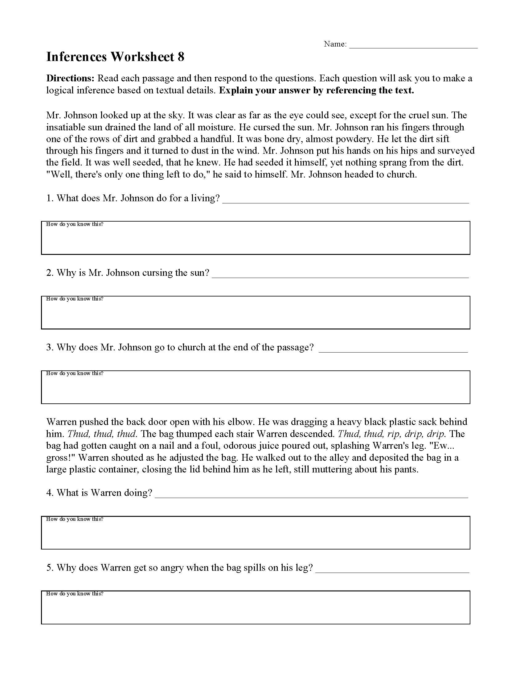 Read and Respond Worksheet Inferences Worksheet 8