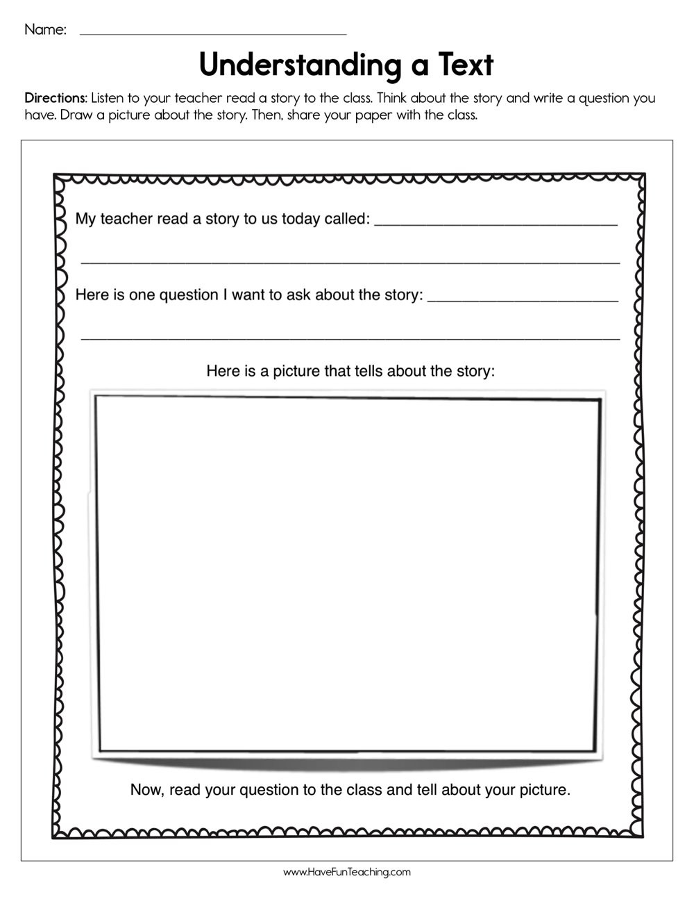 Read and Respond Worksheet Understanding A Text Worksheet