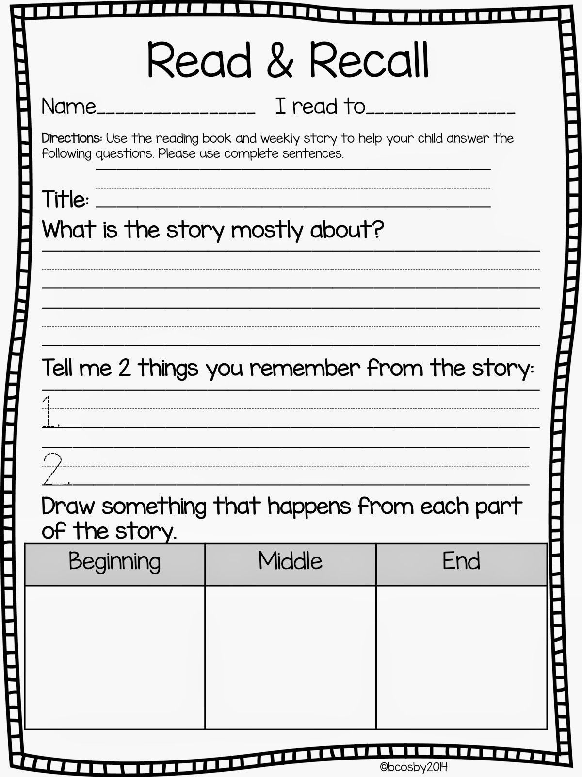 Read and Respond Worksheets Read and Recall Freebie Update