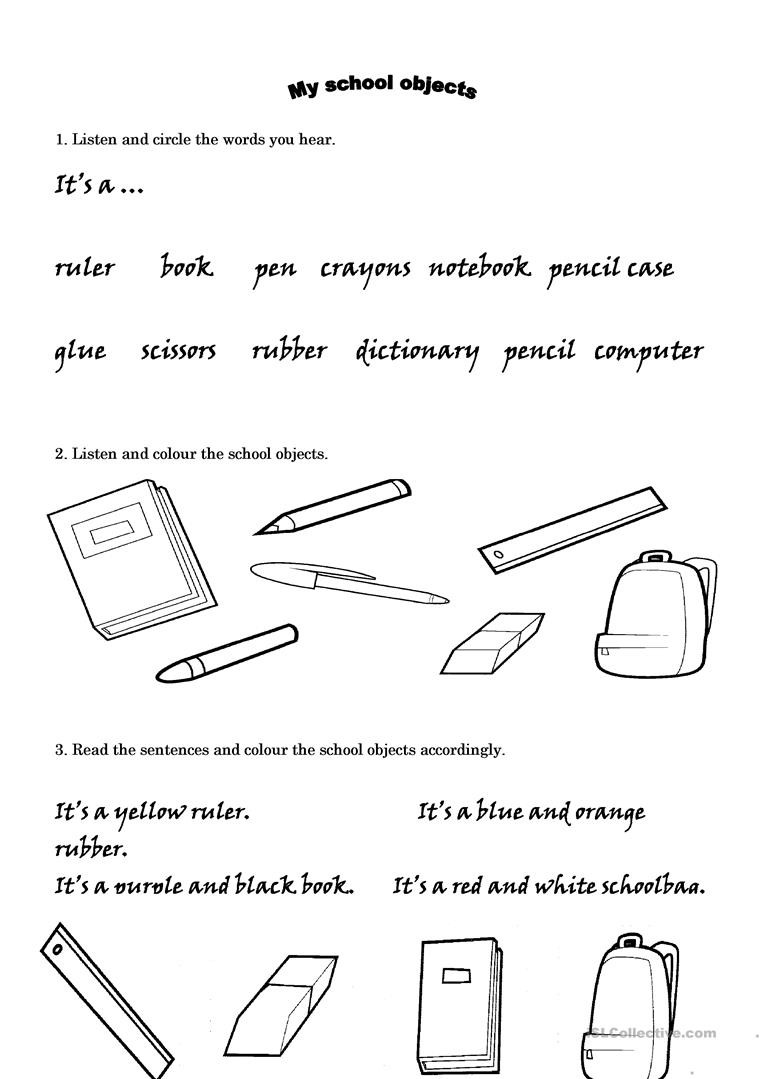 Read and Respond Worksheets School Objects Listening and Reading Prehension English