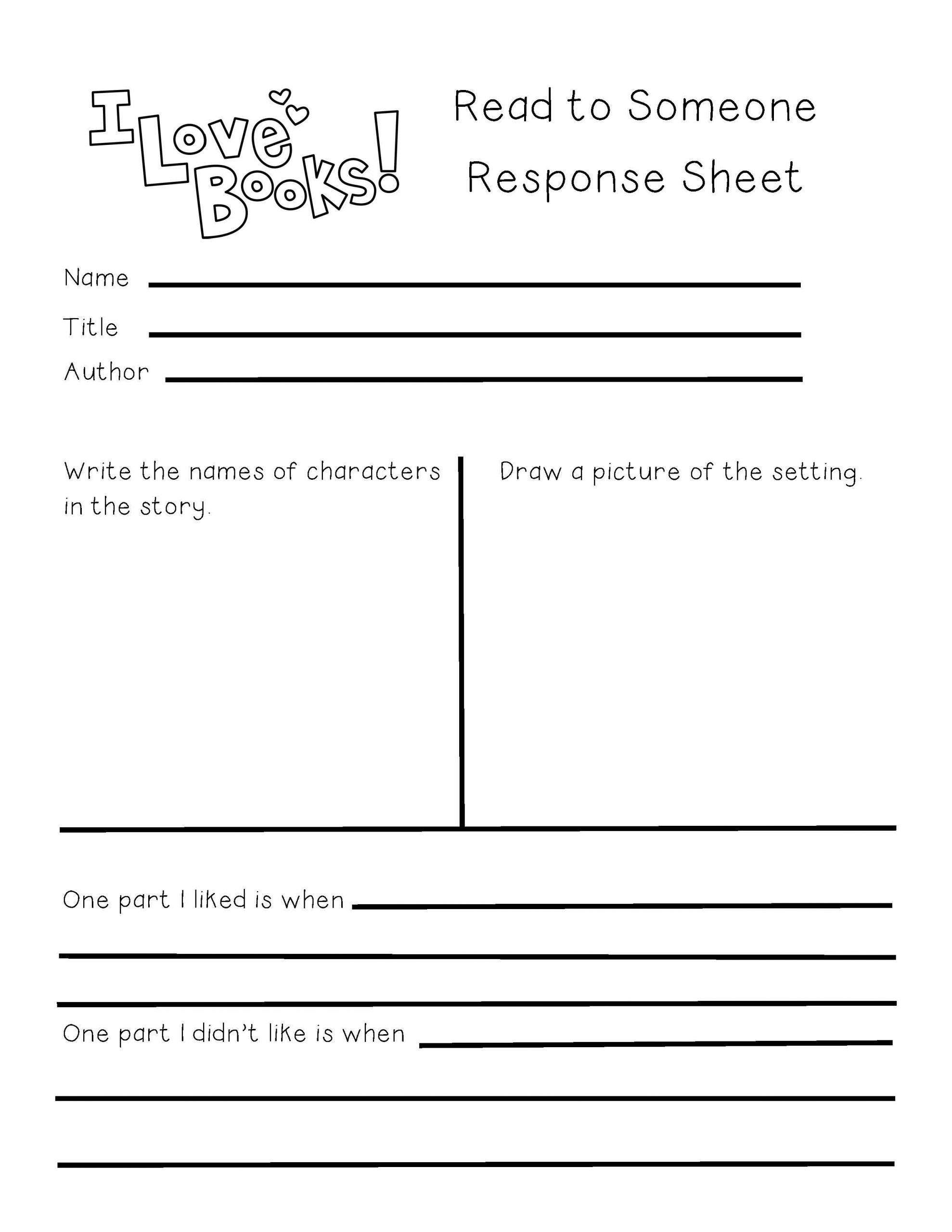 Read and Response Worksheets Book Response Worksheet