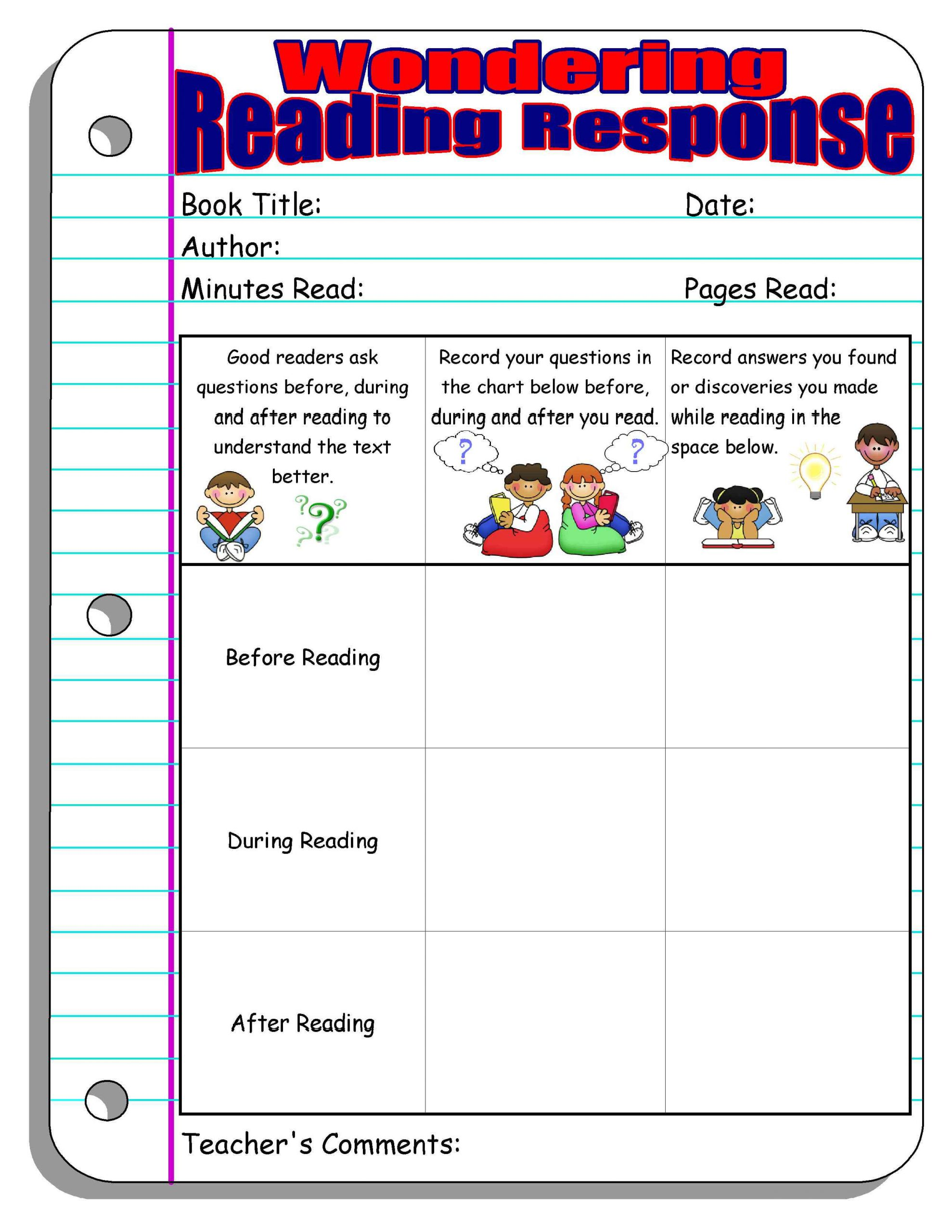 Read and Response Worksheets Reading Response forms and Graphic organizers