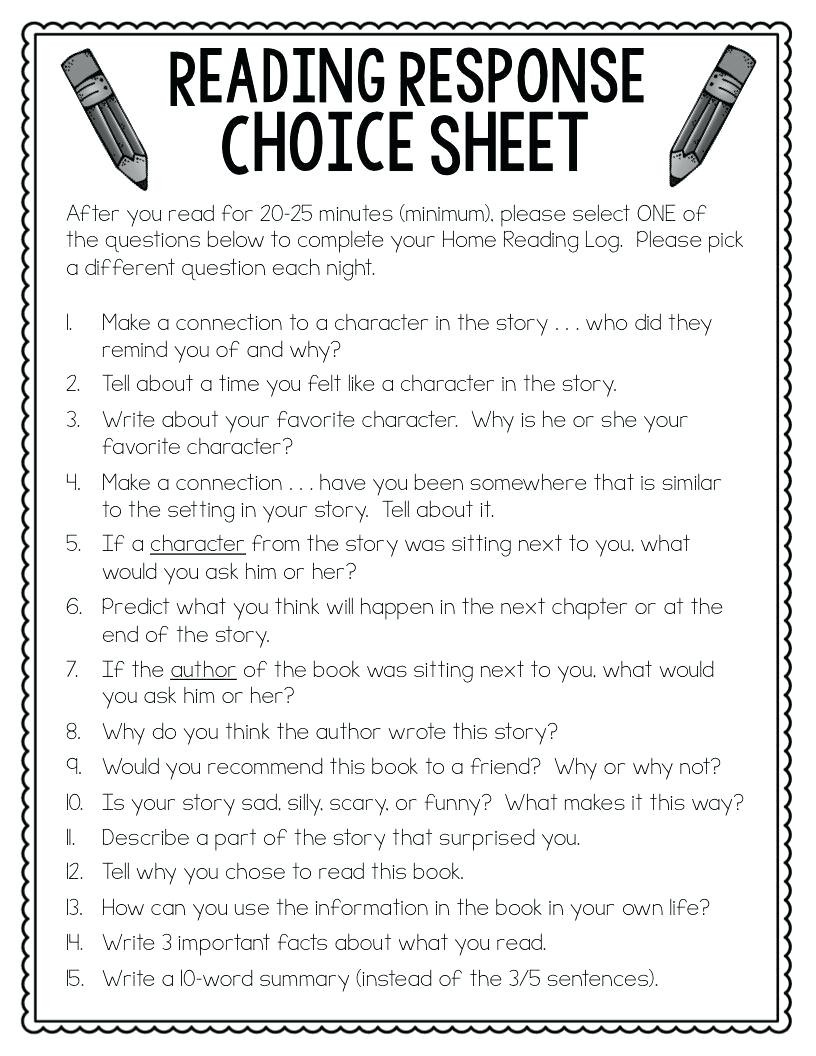 Read and Response Worksheets Reading Response Worksheets Reader Response Sheet Reading
