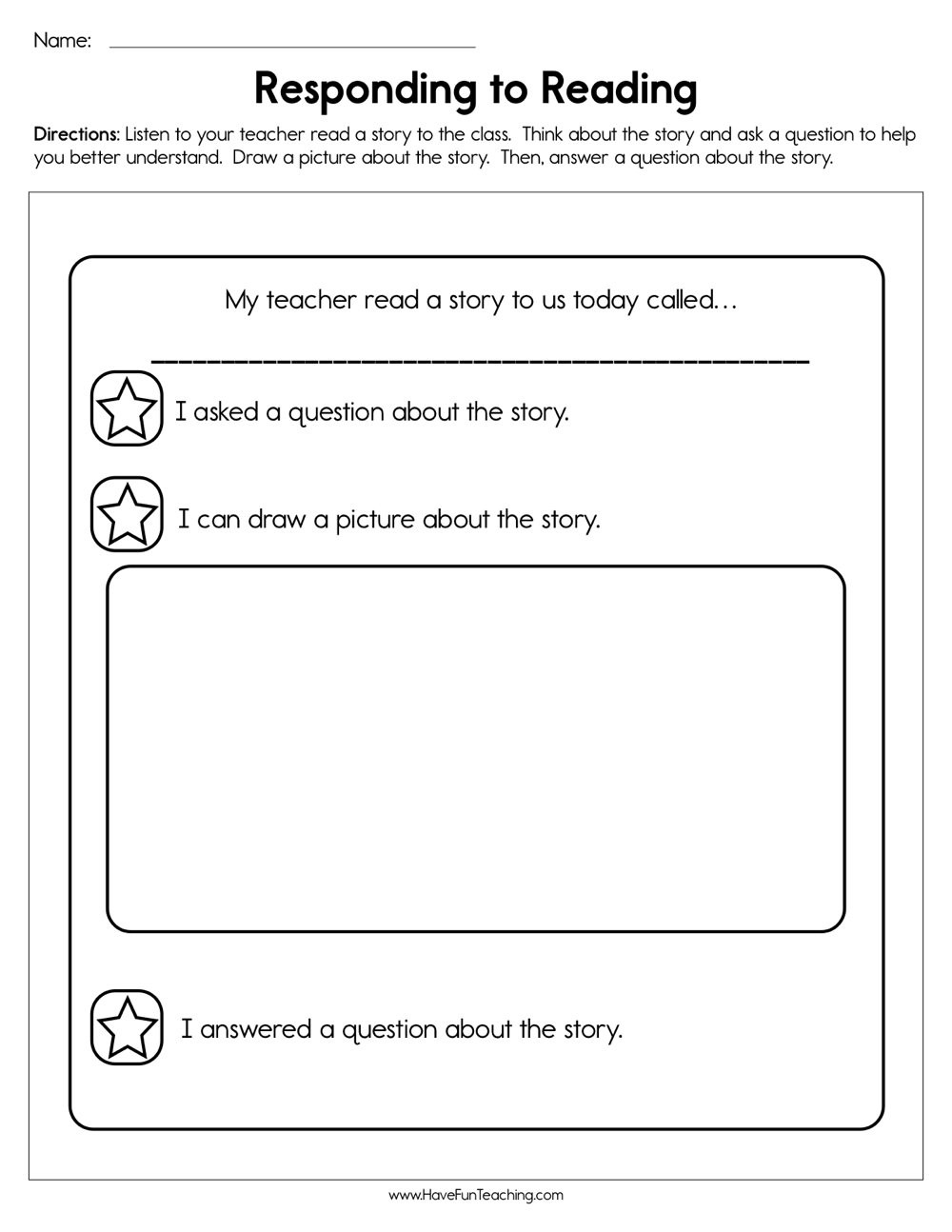Read and Response Worksheets Responding to Reading Worksheet