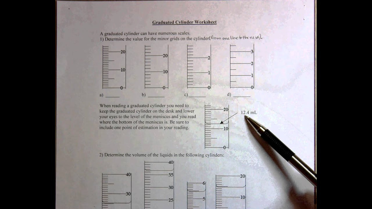 Reading A Graduated Cylinder Worksheet Graduated Cylinder Worksheet
