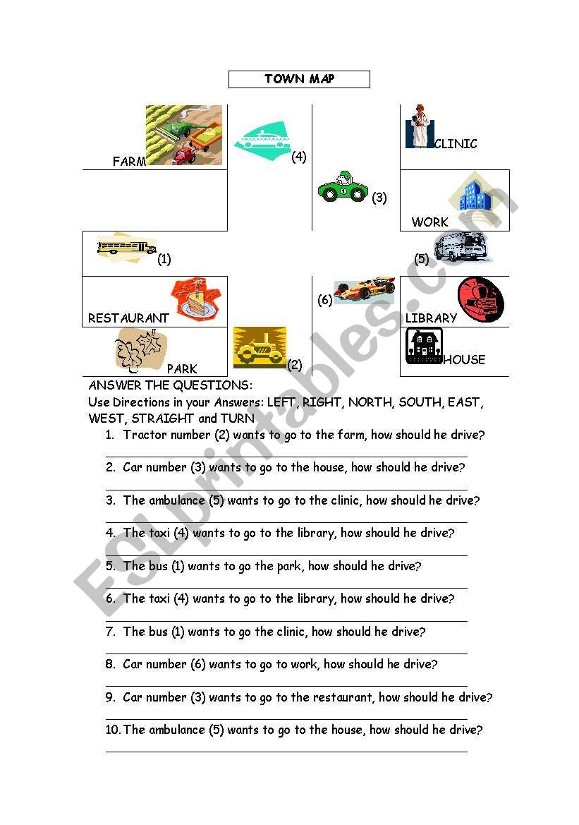 Reading A Map Worksheet Directions and Reading A Map Esl Worksheet by Chelikleyla