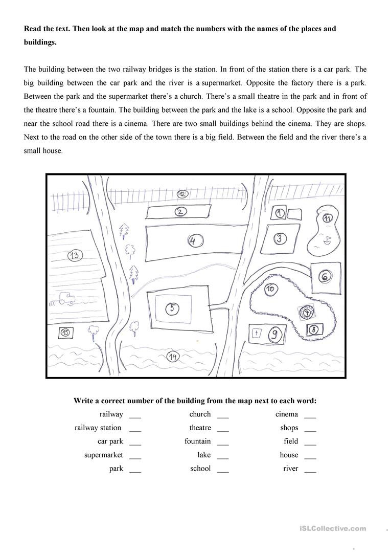 Reading A Map Worksheet Map Of the town English Esl Worksheets for Distance