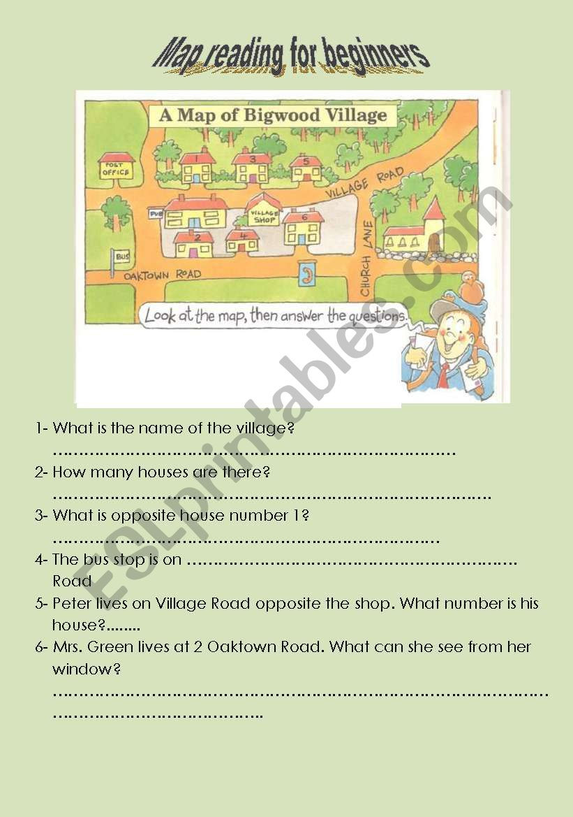 Reading A Map Worksheet Map Reading Esl Worksheet by Aurore