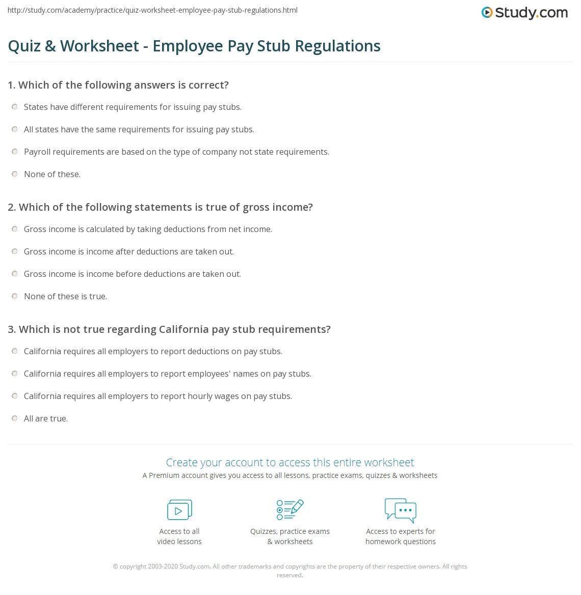 Reading A Pay Stub Worksheet Quiz & Worksheet Employee Pay Stub Regulations
