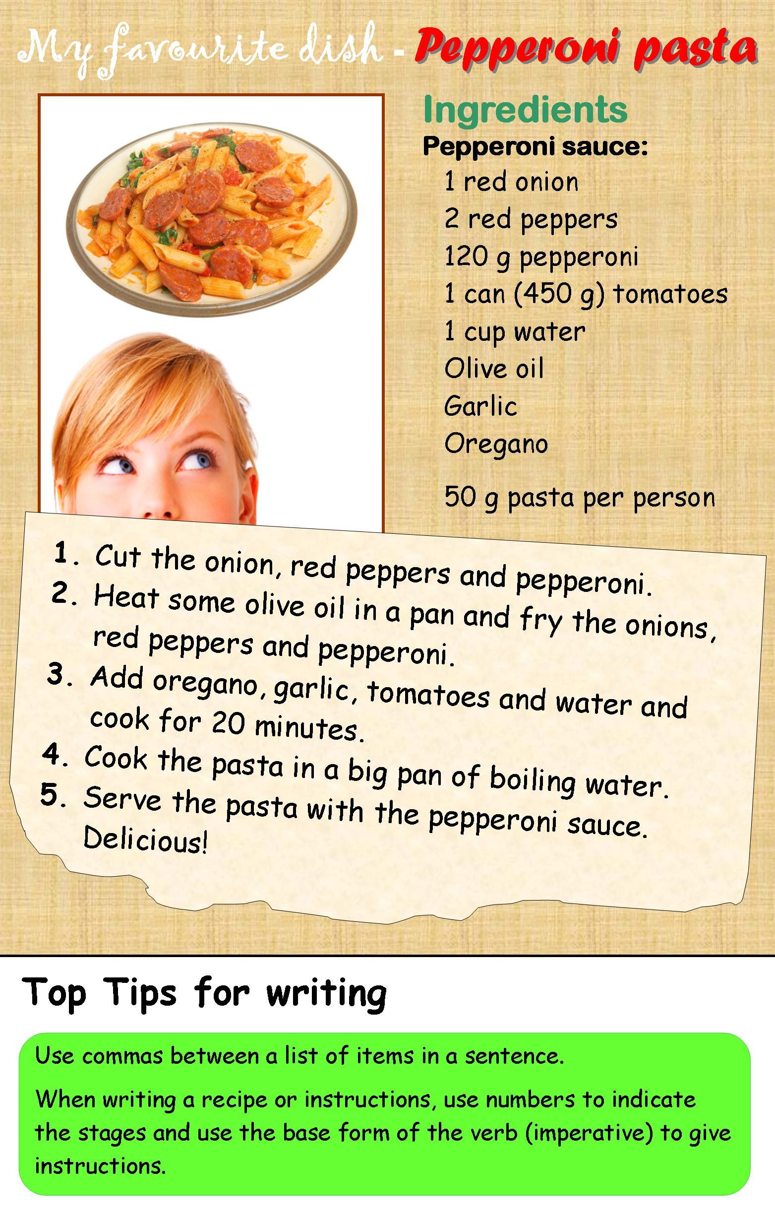 Reading A Recipe Worksheet A Recipe