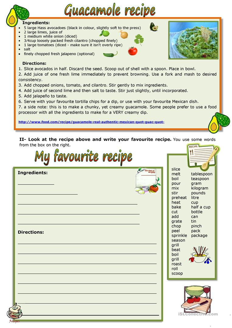 Reading A Recipe Worksheet Guacamole the Controversial Recipe English Esl Worksheets