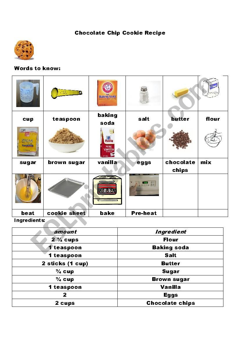Reading A Recipe Worksheet Reading A Recipe Esl Worksheet by Susmin14