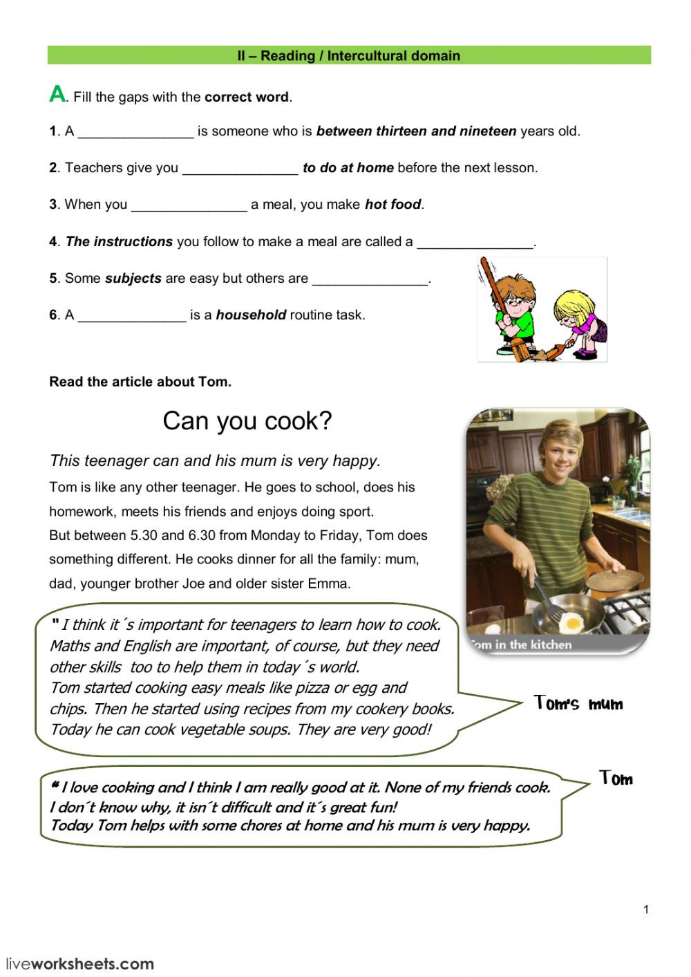 Reading A Recipe Worksheet Reading Test Interactive Worksheet
