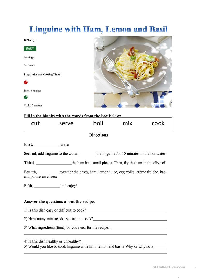 Reading A Recipe Worksheet Recipe English Esl Worksheets for Distance Learning and