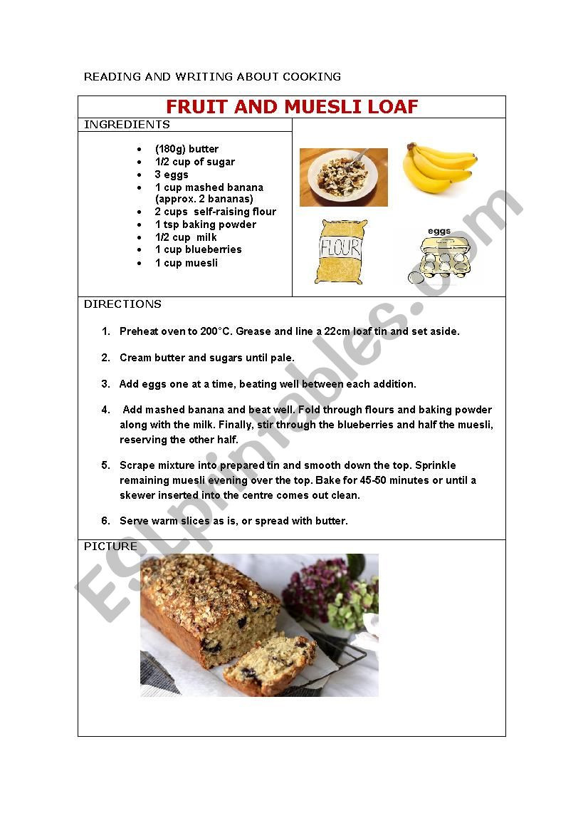 Reading A Recipe Worksheet Recipe Reading and Writing Esl Worksheet by Chigoli