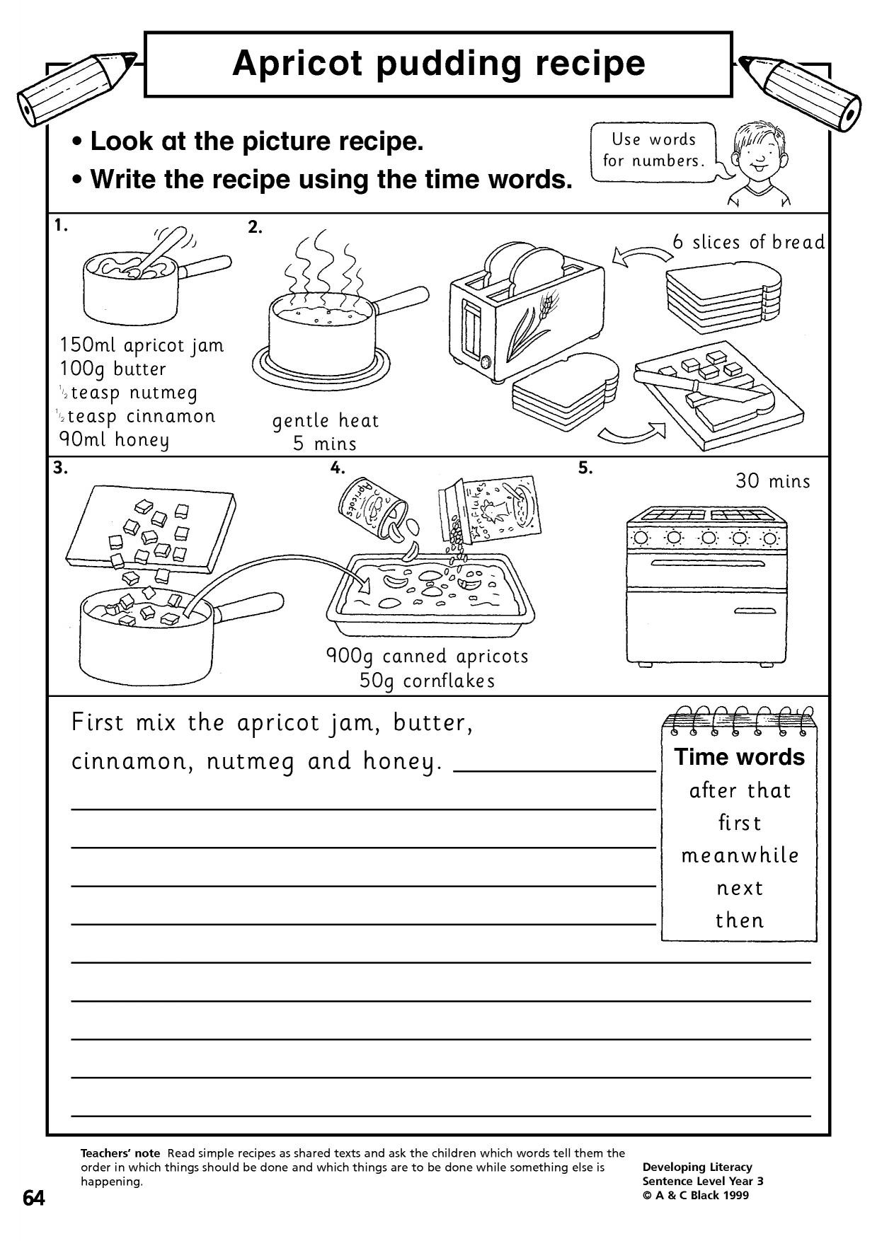 Reading A Recipe Worksheet Recipe Reading Worksheet