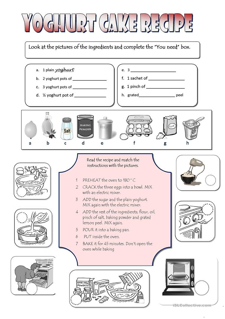 Reading A Recipe Worksheet Recipe Yoghurt Cake English Esl Worksheets for Distance