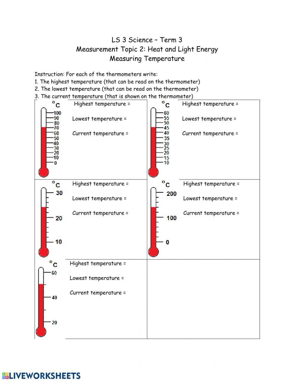 Reading A thermometer Worksheet Reading A thermometer