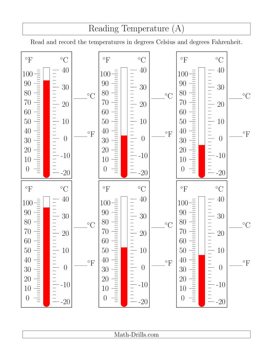 Reading A thermometer Worksheet Reading Temperatures From thermometers A