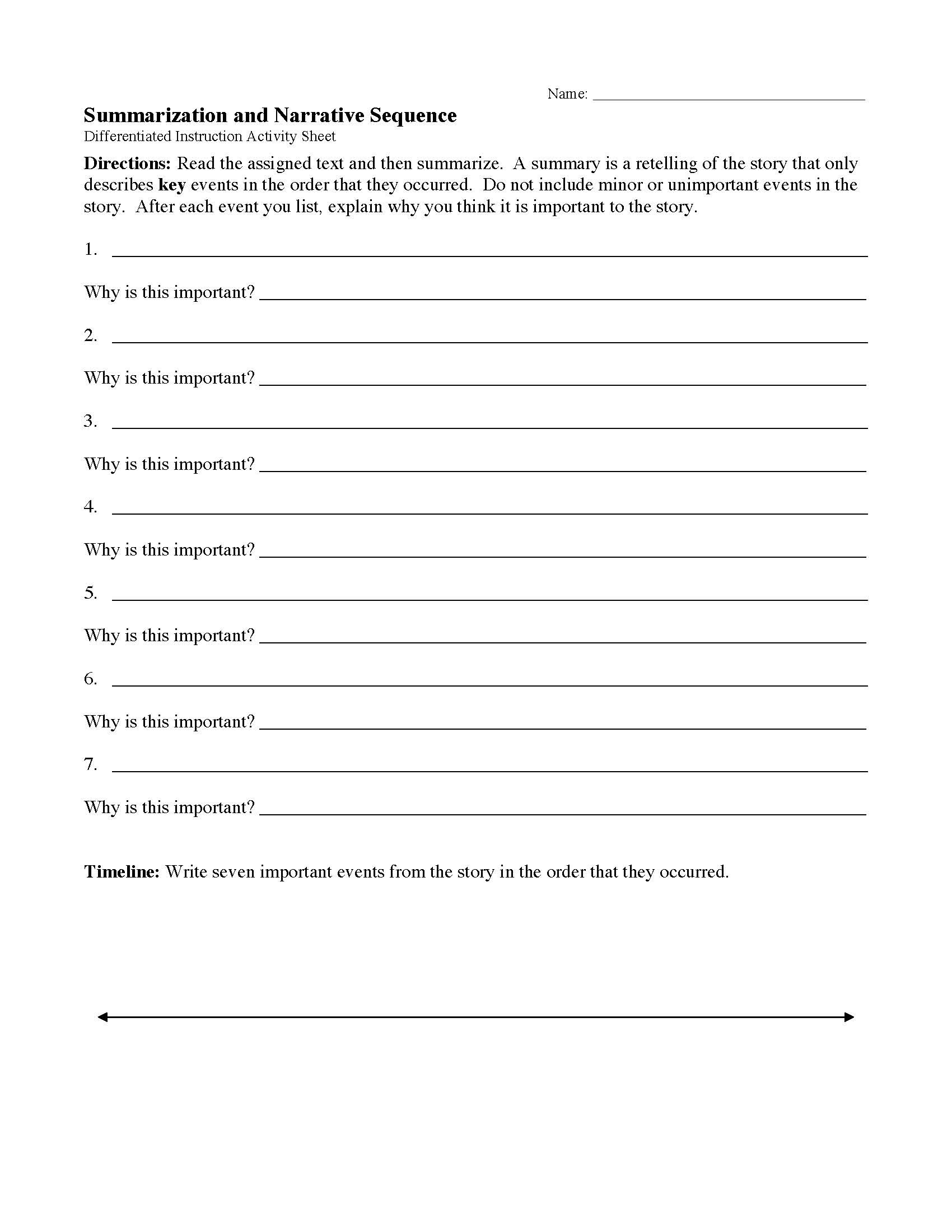Reading A Timeline Worksheet Differentiated Reading Instruction Worksheets and Activities