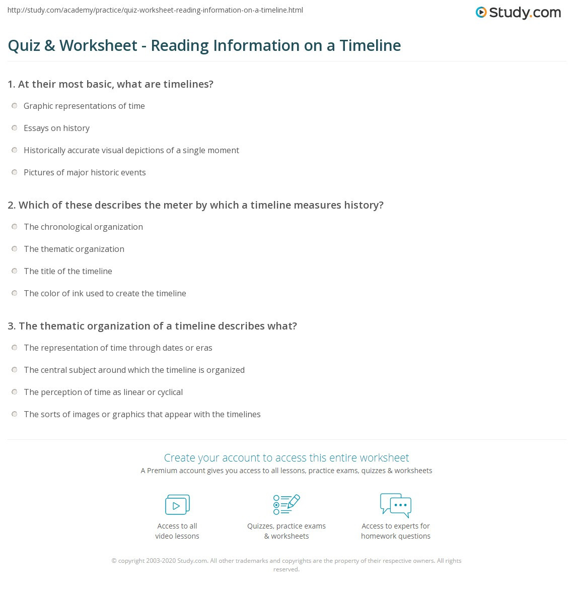 Reading A Timeline Worksheet Quiz & Worksheet Reading Information On A Timeline